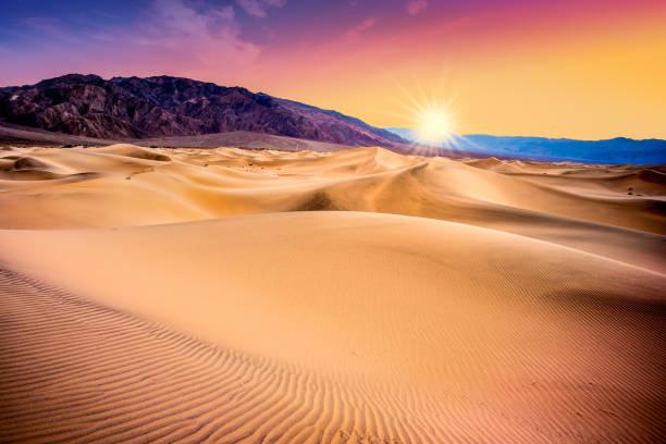 Sand Dunes Death Valley sunet stock photo
