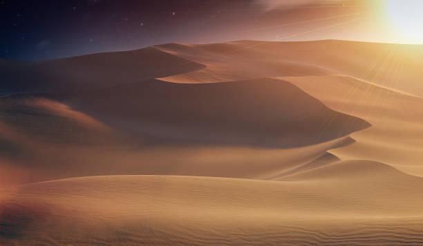 Sand dunes in desert at sunset. 3D rendered illustration. stock photo