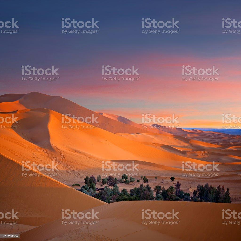 Sand dunes in Sahara desert  in Morocco, North Africa stock photo