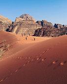 Red sand dunes in the desert