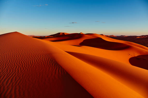 sand dunes in the sahara desert, merzouga, morocco - sand dune stock photos and pictures