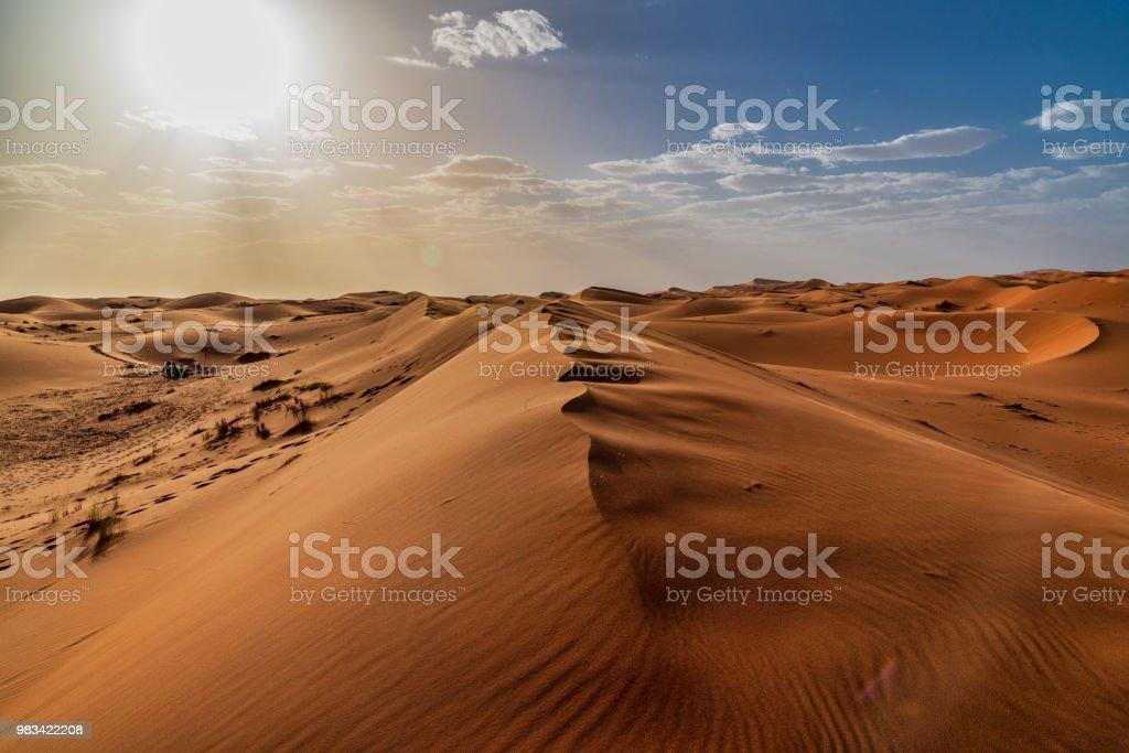 Sanddünen in der Wüste Sahara - Marokko - Lizenzfrei Abenteuer Stock-Foto