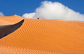Clouds behind the sand dunes in the Algeria