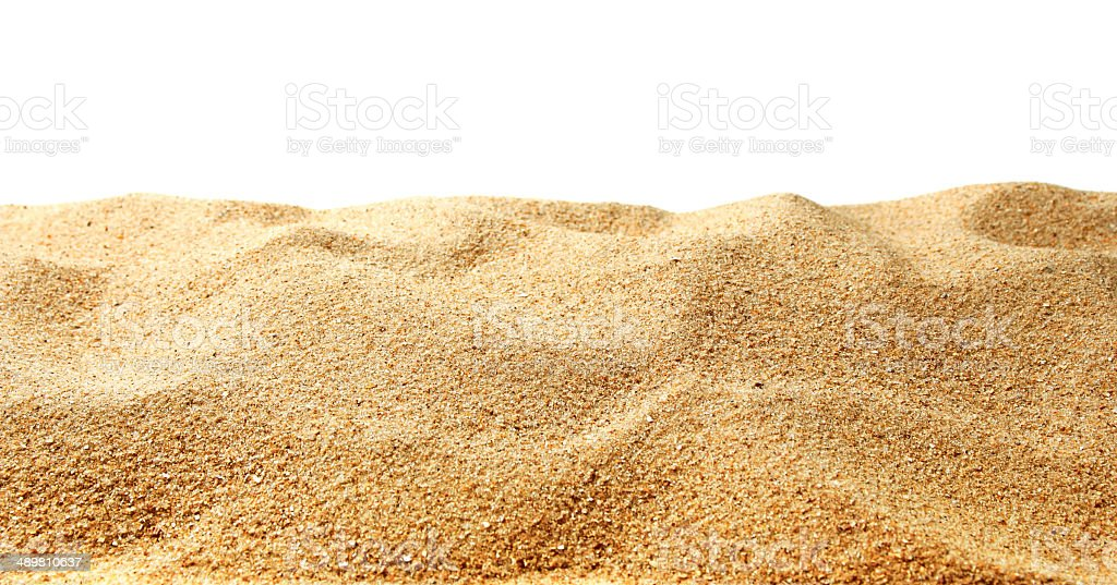 Sand dunes isolated on white background stock photo