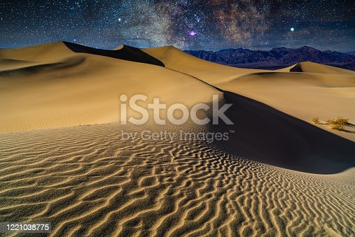 Sand Dunes Milky Way Galaxy in Death Valley - Patterns on sand and scenic landscape views with night sky. Death Valley, California, USA.