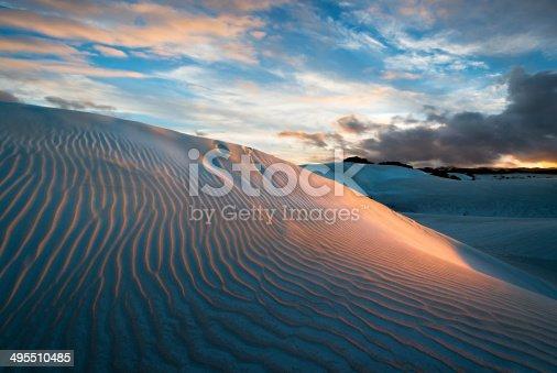 Sunset lighting sand dunes near Dongara on the coast of Western Australia.   Nikon D800e.