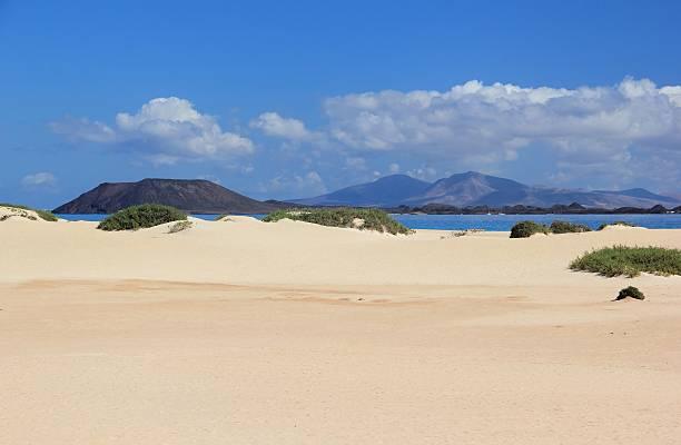 Sand dunes of Corralejo, Fuerteventura, Canary Islands. stock photo