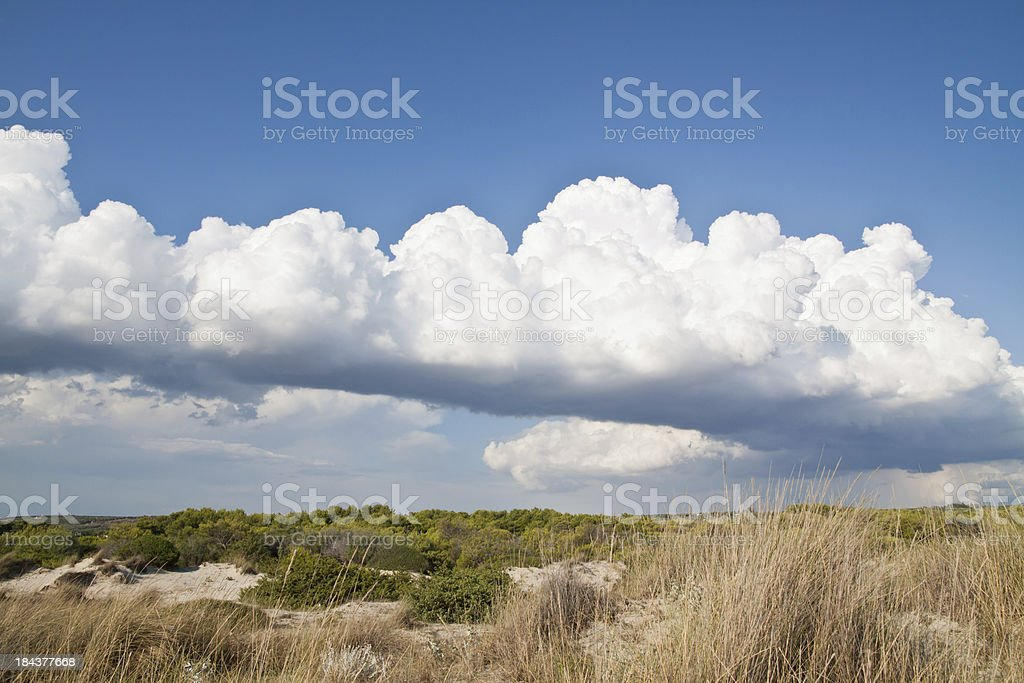 Sand dunes panorama with extreme cloudscape stock photo