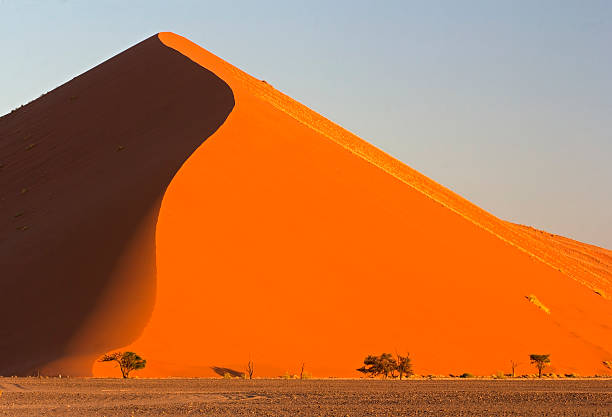 Sand dunes Mountainous sand dune in the Namibian desert at sunset – Sossusvlei, Namibia namib desert stock pictures, royalty-free photos & images