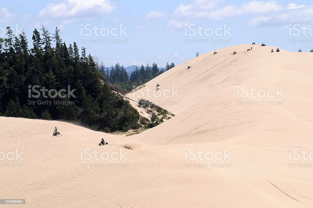 Sand Dunes with ATVs, Oregon, Summer stock photo