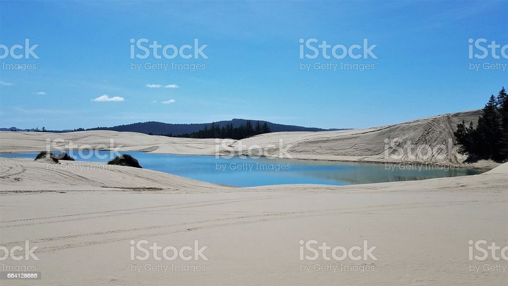 Sand Dunes with water hole foto stock royalty-free