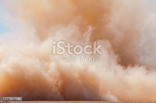 Powerful dust storm in the desert of Arabia
