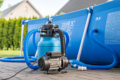 istock Sand filter system next to a pool in your own garden 1250922923
