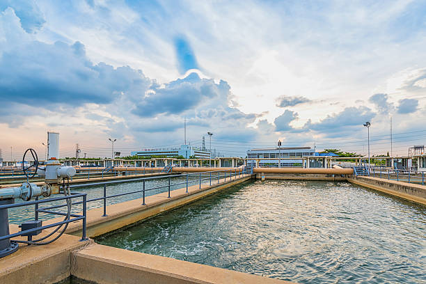 sand filtration tank at water treatment plant sand filtration tank at water treatment plant sewage treatment plant stock pictures, royalty-free photos & images