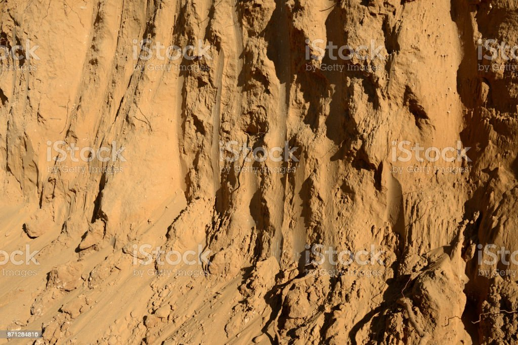 Sand formation and layers on the bulding site stock photo