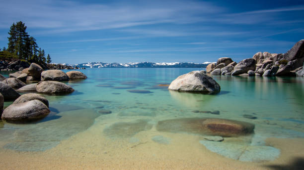 Sand Harbor Lake Tahoe Long exposure blue sky stock photo
