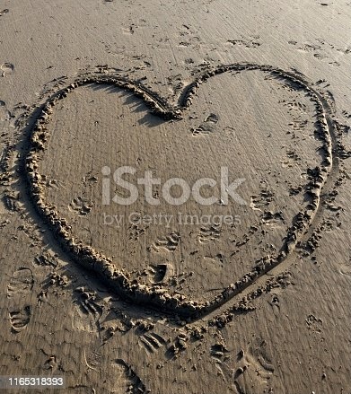 A large heart drawn in the sand, Cornwall, in early Spring