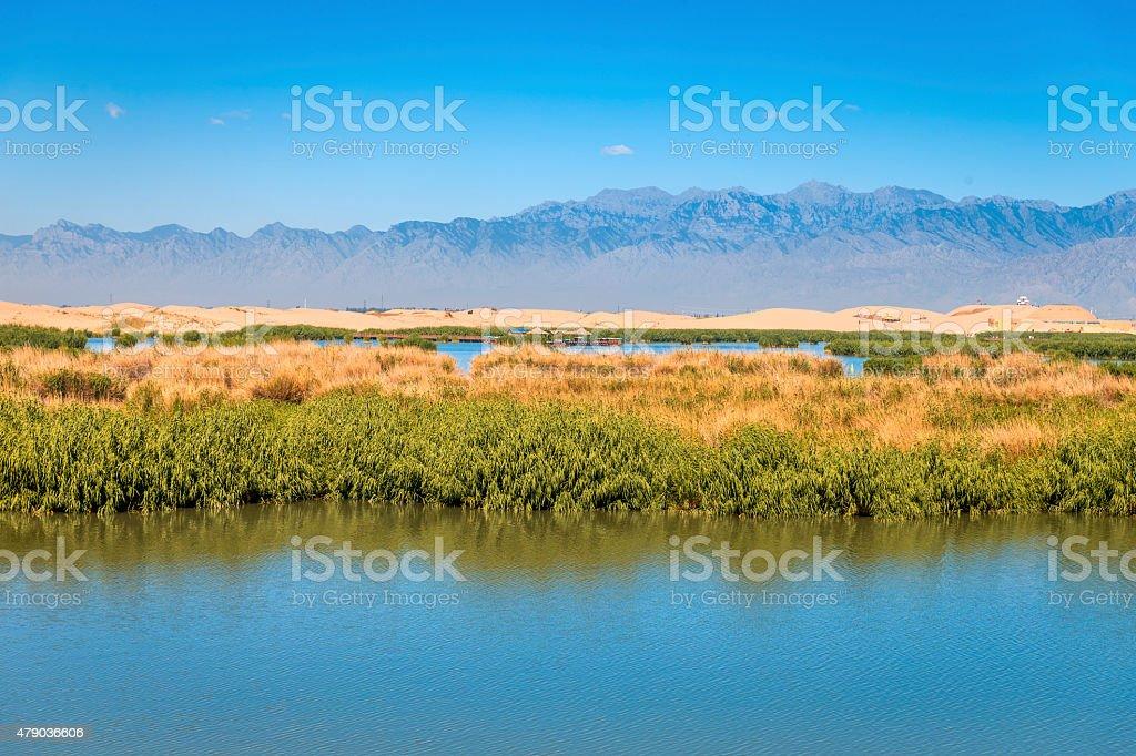 Sand Lake ( Shahu) National Park , Yinchuan, Ningxia of China stock photo