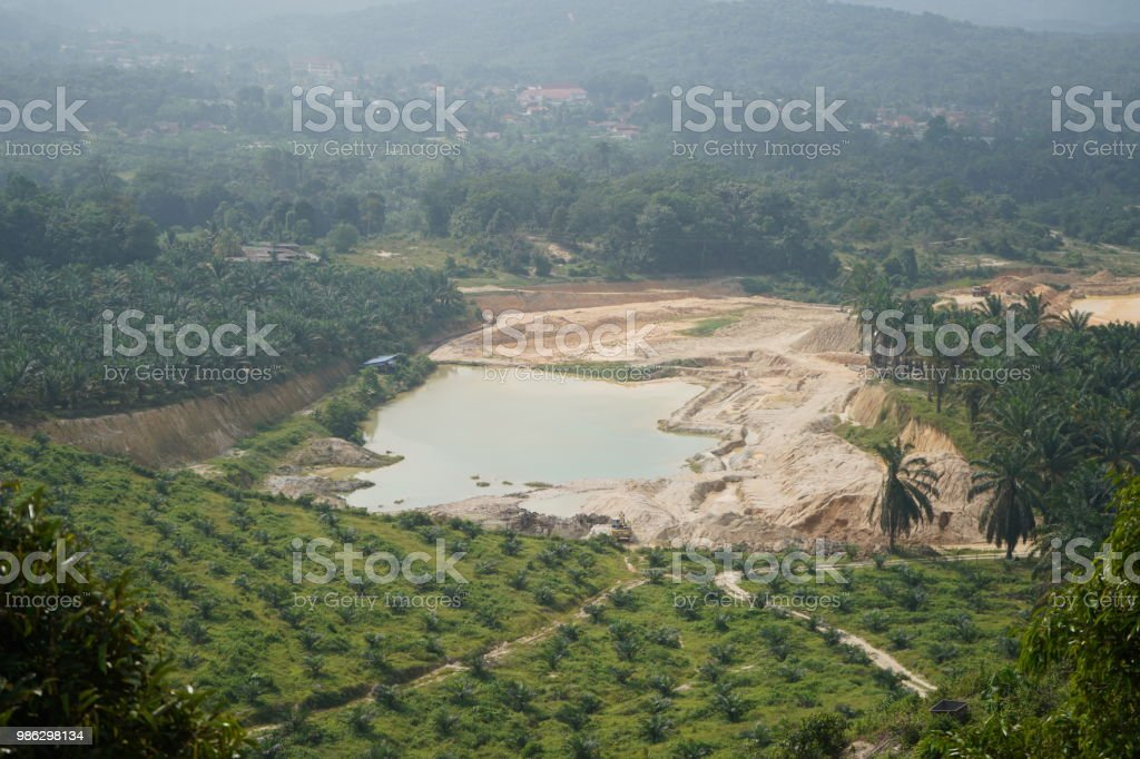sand mine view from high stock photo