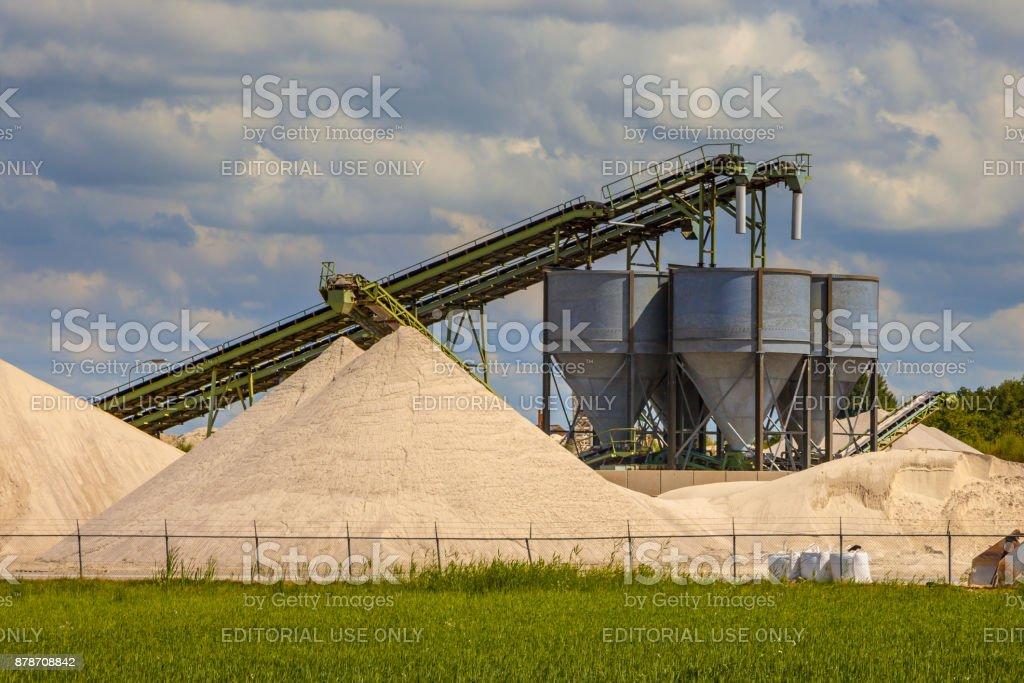 Sand mining terminal detail stock photo