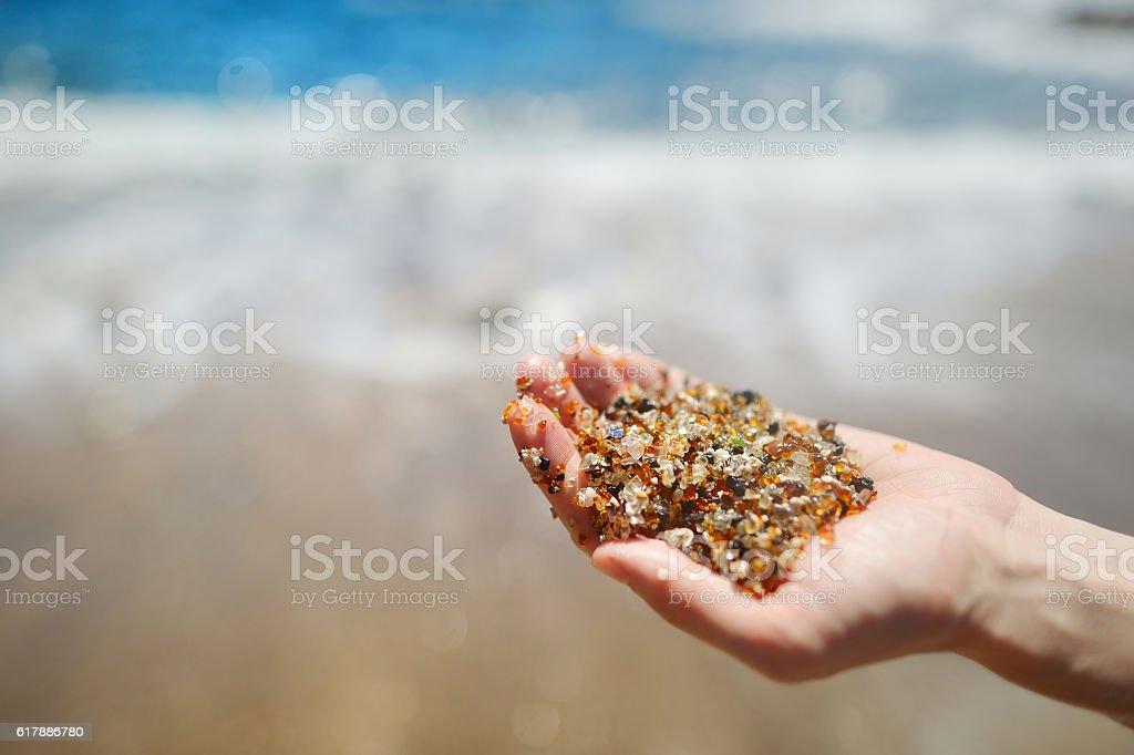 Sand of glass beach near Port Allen town on Kauai – Foto