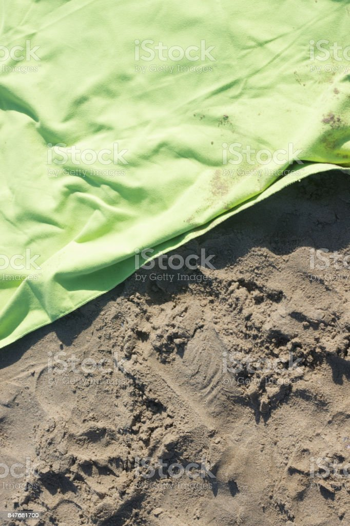 Sand on beach by ocean in summer on holiday. stock photo