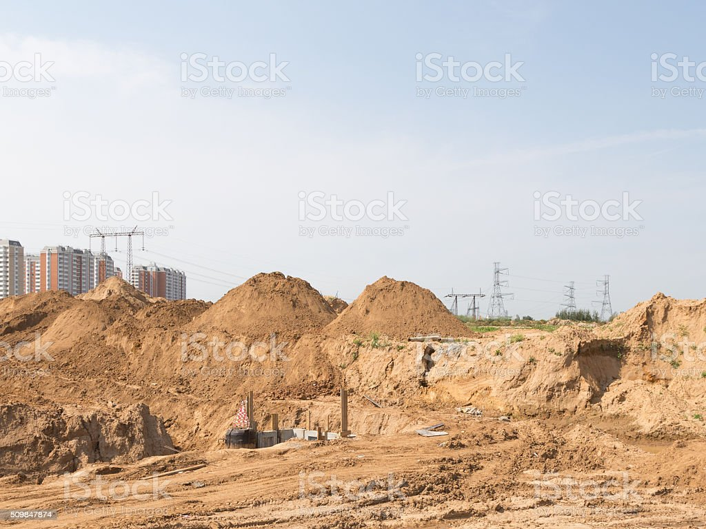 Sand on the road construction, Moscow region stock photo