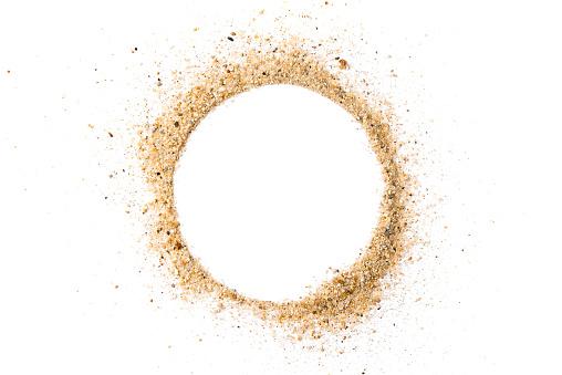 Sand pile circle shape on white background