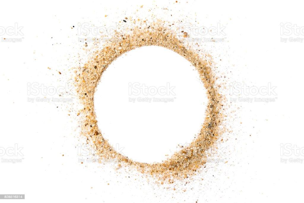 Sand pile circle shape on white background stock photo