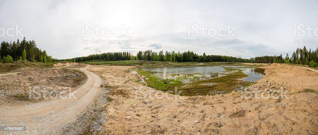 Sand pit oanorama stock photo