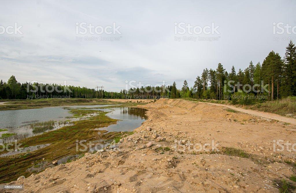 Sand pit road, nature landscape stock photo