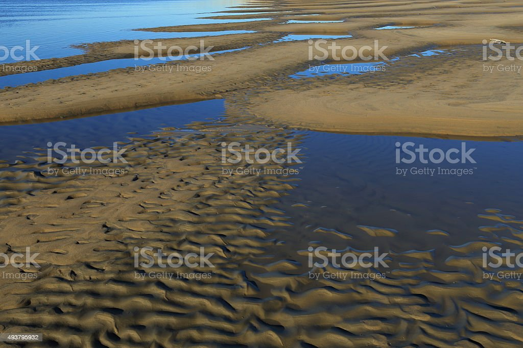 Sand ripples on the bank. stock photo