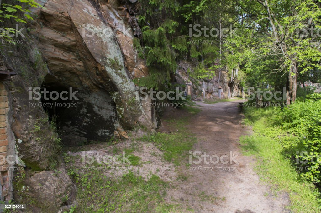 Sand rock cave in Ligatne royalty-free stock photo