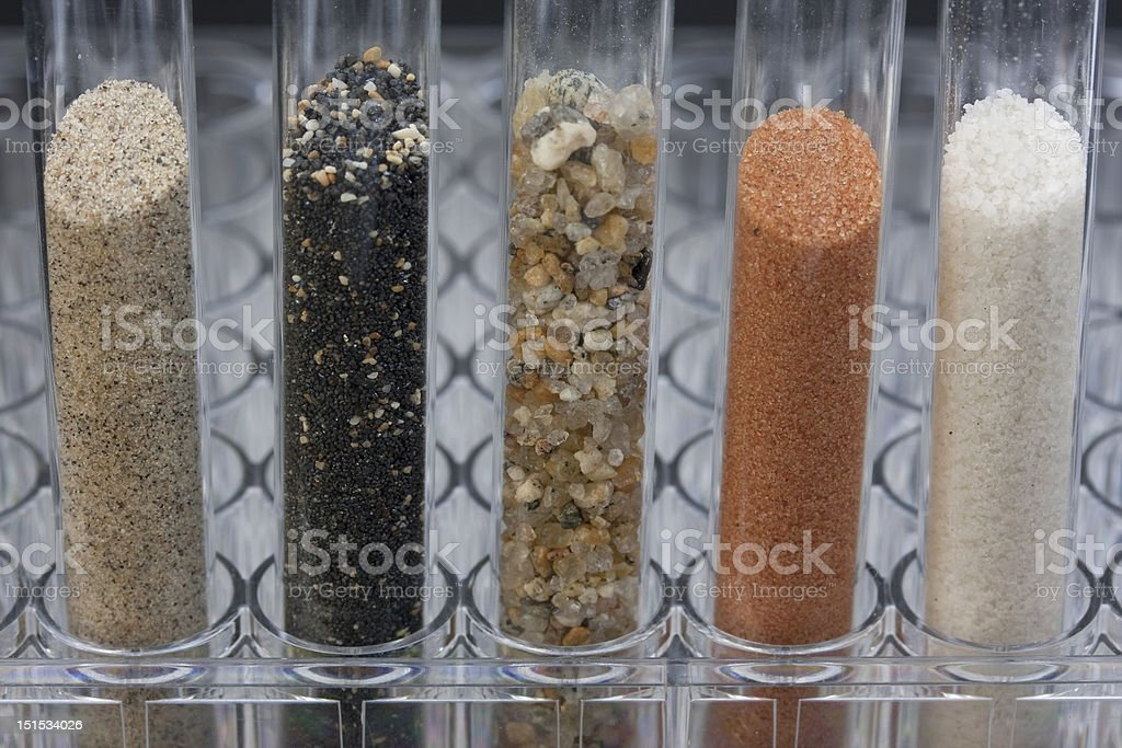 sand samples in laboratory testing tubes stock photo