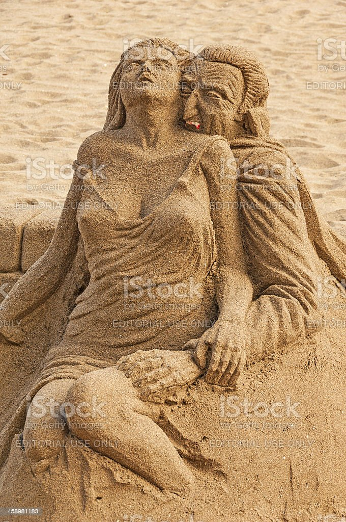 Sand Sculpture on the Beach royalty-free stock photo