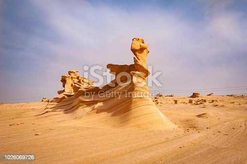 Sand Sculptures in the desert of UAE, A natural phenomenon due to erosion.