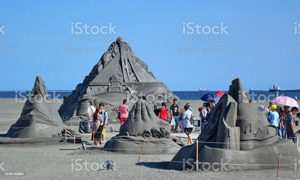 Sand Sculptures on the Beach in Taiwan stock photo