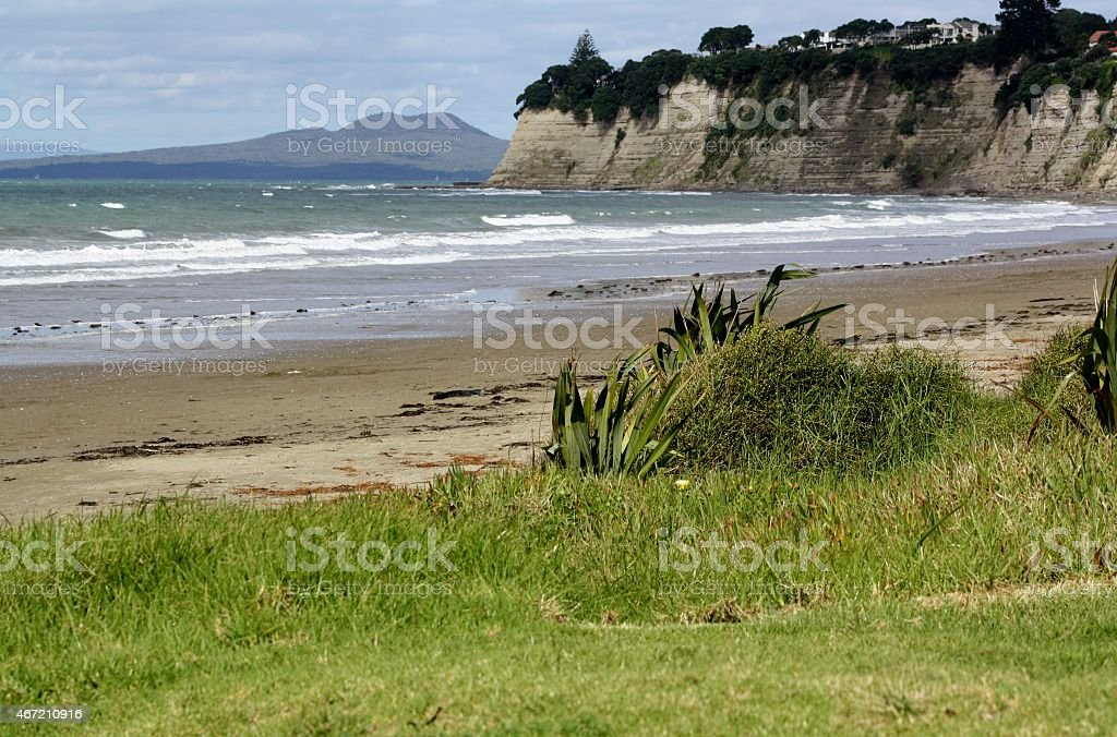 Sand, sea and a........ volcano stock photo