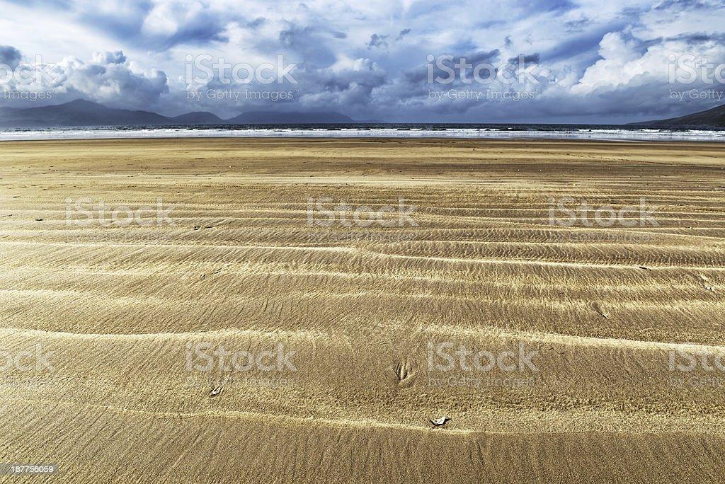 Sand, sea and sky in Ireland stock photo