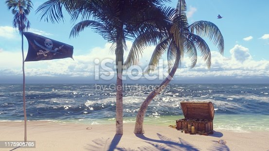 490314373 istock photo Sand, sea, sky, clouds, palm trees and summer day. Pirate island, chest of gold and pirate flag fluttering in the wind. 3D Rendering 1175908765
