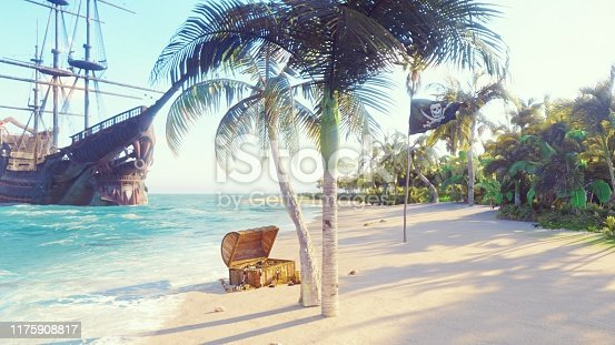 490314373 istock photo Sand, sea, sky, clouds, palm trees and summer day. Pirate island, chest of gold and pirate flag fluttering in the wind. 3D Rendering 1175908817