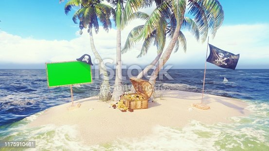490314373 istock photo Sand, sea, sky, clouds, palm trees, sharks and summer day. Pirate island, a chest of gold, a wooden banner with a green screen and a pirate flag fluttering in the wind. 3D Rendering 1175910461