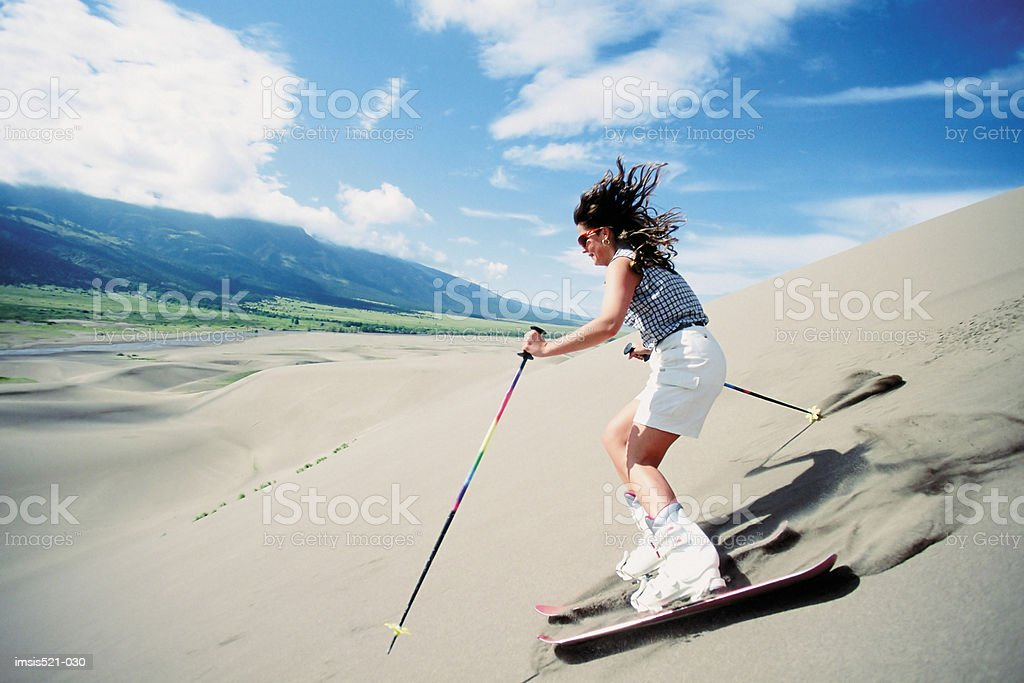 Sand skiing royalty-free stock photo