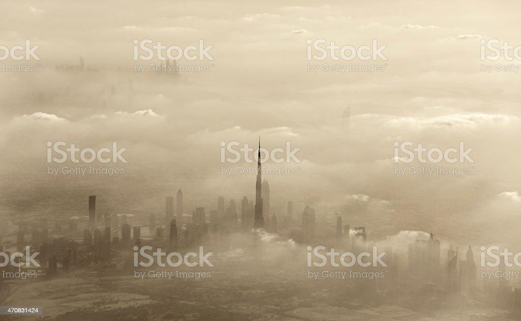 Sand storm in Dubai stock photo