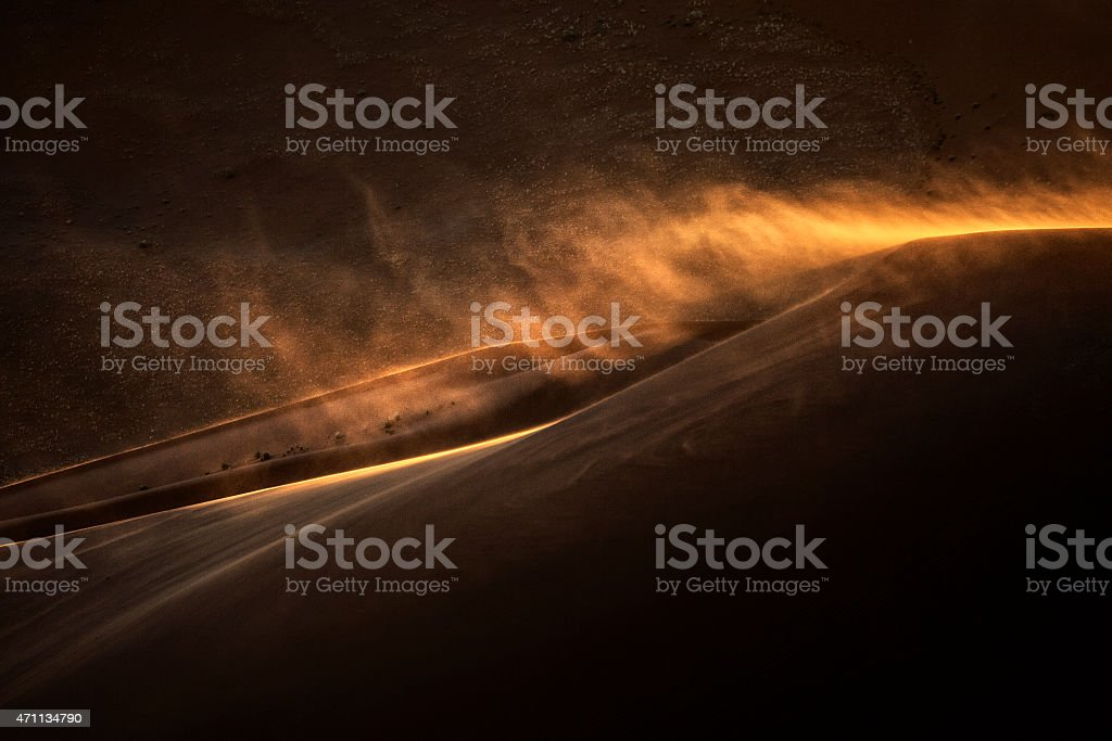 Sand Storm in Sossusvlei stock photo