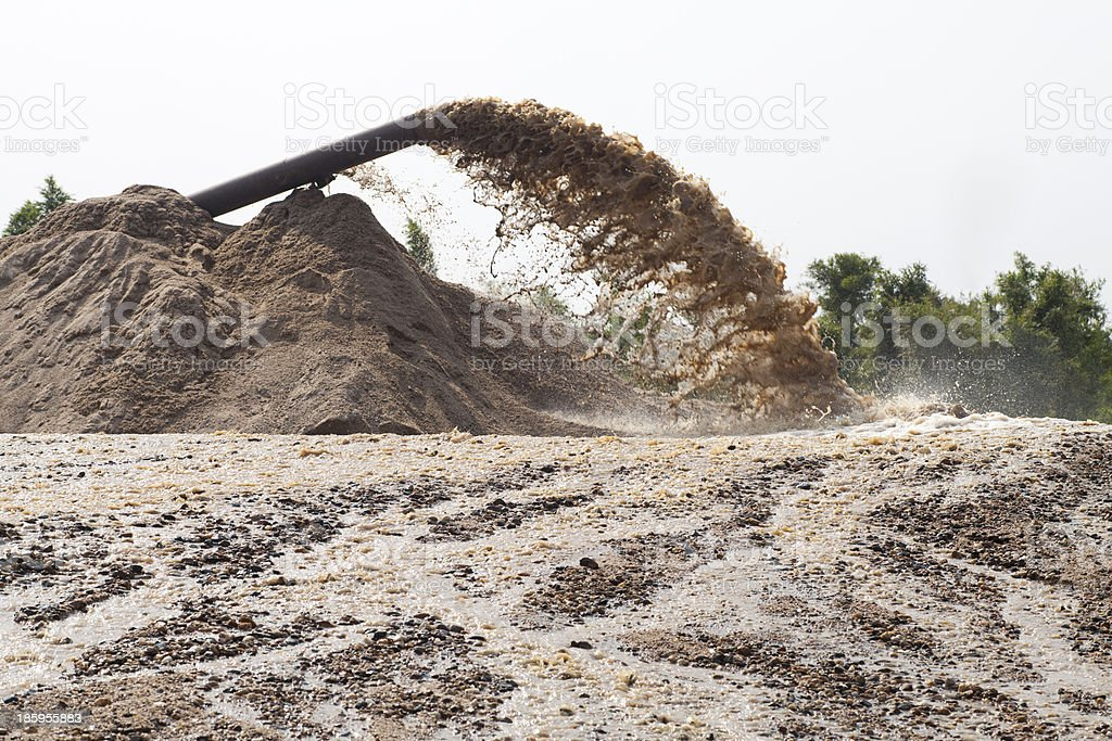 sand suction dredging stock photo