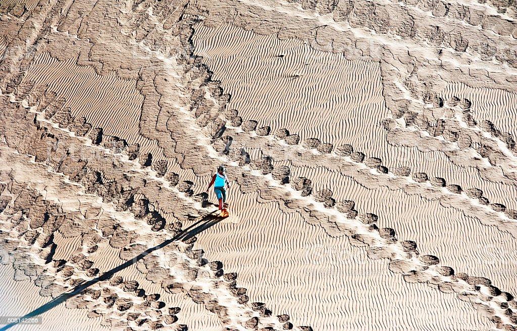 Sand surfing Sossusvlei, Namib Desert, Namibia, Africa stock photo