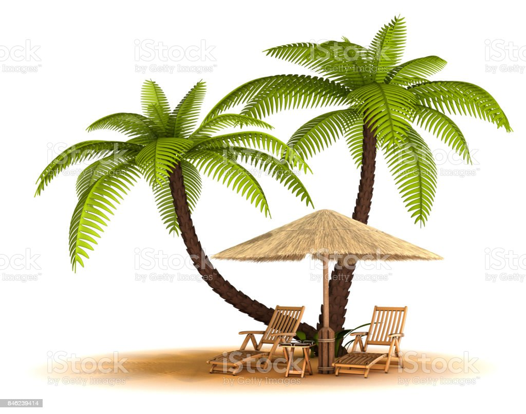 Sand, umbrella, chaise lounges stock photo