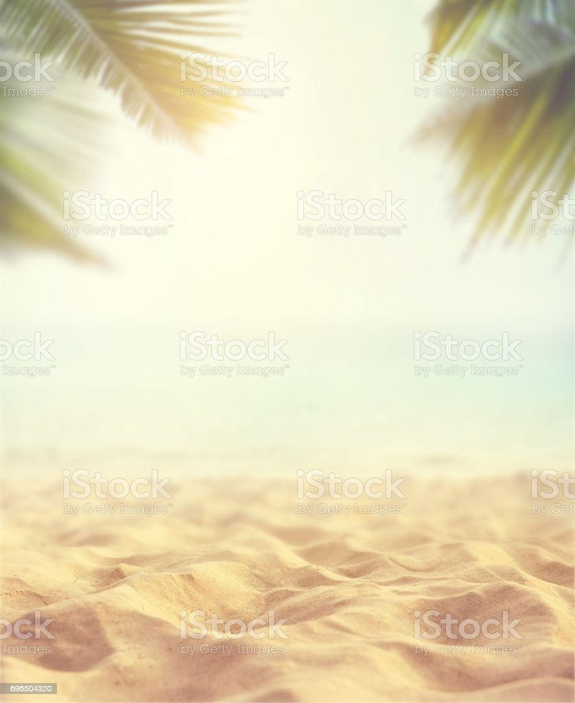 Sand Beach In Summer Sky Background: Sand With Blurred Sea Sky Background Summer Day Stock