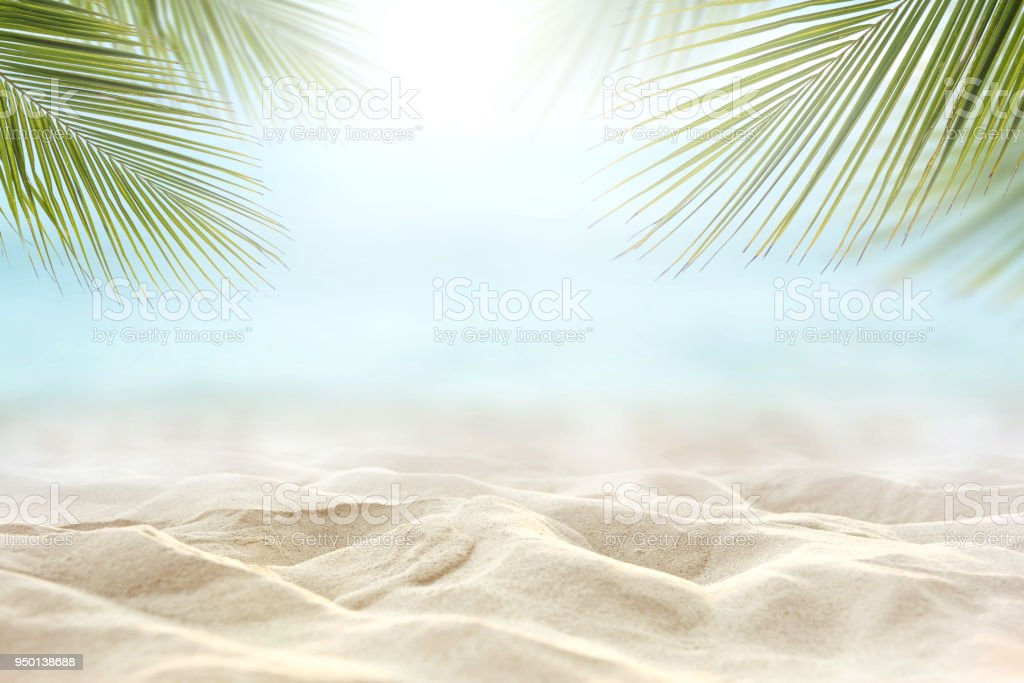sand with blurred sea sky background, summer day stock photo